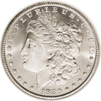 1880-CC $1 MS66 NGC. VAM-6. 8/7 Low, CC Dots. The first 8 in the date is repunched over a 7, which shows beneath. Tiny d...