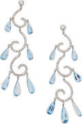 Estate Jewelry:Earrings, Diamond, Aquamarine, Platinum Earrings. ...