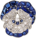Estate Jewelry:Brooches - Pins, Diamond, Sapphire, Platinum Brooch, Oscar Heyman Bros.. ...