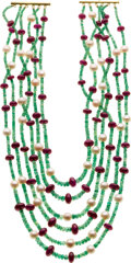 Estate Jewelry:Necklaces, Emerald, Ruby, Cultured Pearl, Gold Necklace. ...