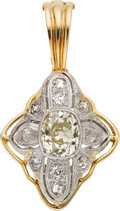 Estate Jewelry:Pendants and Lockets, Diamond, Platinum, Gold Pendant. ...