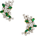 Estate Jewelry:Earrings, Diamond, Emerald, Platinum, Gold Earrings. ...