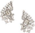 Estate Jewelry:Earrings, Diamond, Platinum, White Gold Earrings, Boucheron, French. ...
