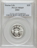 Modern Bullion Coins: , 2003 P$25 Quarter-Ounce Platinum Eagle MS69 PCGS. PCGS Population(12363/250). NGC Census: (4244/875). Numismedia Wsl. Pri...