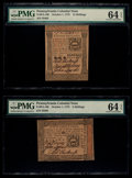 Colonial Notes:Pennsylvania, Pennsylvania October 1, 1773 5s and 15s PMG Choice Uncirculated 64 EPQ.. ... (Total: 2 notes)