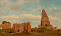 ALBERT BIERSTADT (American, 1830-1902) Ruins-Campagna of Rome, 1867 Oil on card 8 x 13 inches (20