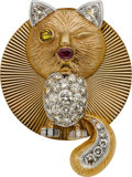 Estate Jewelry:Brooches - Pins, Colored Diamond, Diamond, Ruby, Gold Pendant-Brooch. ...