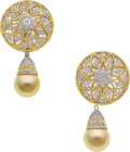 Estate Jewelry:Earrings, Golden South Sea Cultured Pearl, Diamond, Gold Earrings. ...