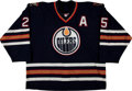 Hockey Collectibles:Uniforms, 2001-02 Mike Grier Game Worn Edmonton Oilers Jersey....