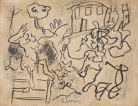 WILLEM DE KOONING (American, 1904-1997) Untitled Charcoal on paper 8-1/4 x 10-7/8 inches (21.0 x