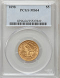 Liberty Half Eagles: , 1898 $5 MS64 PCGS. PCGS Population (46/5). NGC Census: (126/30).Mintage: 633,495. Numismedia Wsl. Price for problem free N...