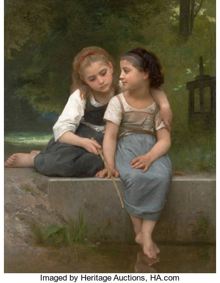 WILLIAM ADOLPHE BOUGUEREAU (French, 1825-1905) Fishing For Frogs, 1882 Oil on canvas 54 x 42 inches (137.2 x 106.7 cm...
