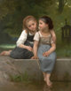 WILLIAM ADOLPHE BOUGUEREAU (French, 1825-1905) Fishing For Frogs, 1882 Oil on canvas 54 x 42 inches (137.2 x 106.7 cm