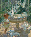 Fine Art - Painting, European, DOROTHEA SHARP (British, 1874-1955). At the Fountain. Oil on canvas. 29 x 24 inches (73.7 x 61.0 cm). Signed lower left:...