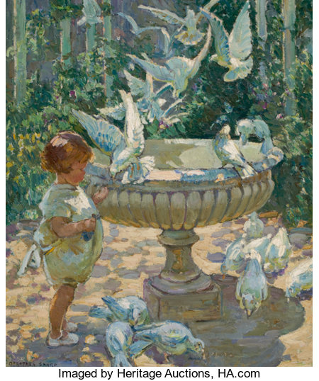 DOROTHEA SHARP (British, 1874-1955) At the Fountain Oil on canvas 29 x 24 inches (73.7 x 61.0 cm) Signed lower left:...