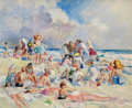 Fine Art - Painting, American, MARTHA WALTER (American, 1875-1976). Sunday at the Beach.Oil on board. 16 x 20 inches (40.6 x 50.8 cm). Signed lower ri...