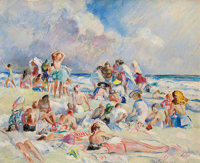 MARTHA WALTER (American, 1875-1976) Sunday at the Beach Oil on board 16 x 20 inches (40.6 x 50.8