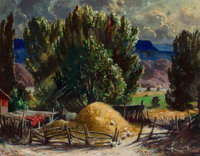 FREMONT F. ELLIS (American, 1897-1985) Haystack Oil on board 22 x 28 inches (55.9 x 71.1 cm) S