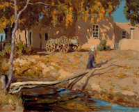 FREMONT F. ELLIS (American, 1897-1985) Sun and Shadow on Adobe Oil on artists' board 16 x 20 inch