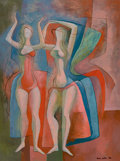 Paintings, BROR ALEXANDER UTTER (American, 1913-1993). Burlesque Queens, 1956. Oil on canvas . 24 x 18 inches (61.0 x 45.7 cm). Sig...