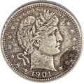 Barber Quarters, 1901-S 25C -- Heavily Corroded, Cleaned -- ANACS. VF Details....