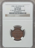 Civil War Merchants, (1861-65) F. Sloan, Ionia, MI, F-495B-4a, R.9, MS64 Brown NGC..Incomplete planchet.. Purchased from James Kelly(12/20/19...