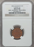 Civil War Merchants, 1863 William Jackson, Jackson, MI, F-525C-2a, R.5, MS64 Red andBrown NGC.. From The Clifton A. Temple Collection....