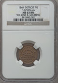 Civil War Merchants, 1864 Wilkins & Martins, Detroit, MI, F-225CN-2a, R.9, MS63Brown NGC.. Purchased from James Kelly (5/7/1943) for 40cents....