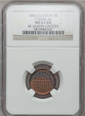 Civil War Merchants, 1863 W. Jaxon, Jackson, MI, F-525D-1a, R.9, MS62 Brown NGC..Purchased from J. Canfield (2/13/1971) for $10.00.. From...