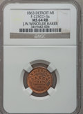 Civil War Merchants, 1863 J.W. Winckler, Detroit, MI, F-225CO-3a, R.7, MS64 Red andBrown NGC.. Purchased from James Kelly (7/8/1943) for 35ce...