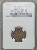 Civil War Merchants, 1864 W. Jaxon, Jackson, MI, F-525D-4b, R.9 - Improperly Cleaned -NGC Details. Unc.. From The Clifton A. Temple Collection...