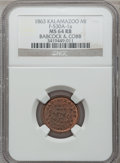 Civil War Merchants, 1863 Babcock & Cobb, Kalamazoo, MI, F-530A-1a, R.6, MS64 Redand Brown NGC.. From The Clifton A. Temple Collection....