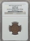 Civil War Merchants, 1863 Davis & Bates, Kalamazoo, MI, F-530C-3a, R.6, MS61 BrownNGC.. Purchased from James Kelly (12/20/1941) for 40 cents....