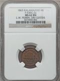 Civil War Merchants, 1863 L.W. Perrin, Kalamazoo, MI, F-530G-2a, R.6, MS62 Brown NGC..From The Clifton A. Temple Collection....