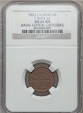 Civil War Merchants, 1863 David Ekstein, Lansing, MI, F-560A-2a, R.6, MS64 Brown NGC..From The Clifton A. Temple Collection....