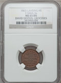Civil War Merchants, 1863 David Ekstein, Lansing, MI, F-560A-3a, R.8 MS65 Brown NGC..From The Clifton A. Temple Collection....