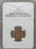 Civil War Merchants, 1863 A.J. Viele, Lansing, MI, F-560B-2b, R.7, MS63 NGC..Purchased from James Kelly (5/7/1943) for 50 cents.. FromThe...