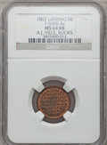Civil War Merchants, 1863 A.J. Viele, Lansing, MI, F-560B-4a, R.6, MS64 Red and BrownNGC.. From The Clifton A. Temple Collection....