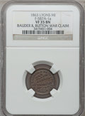 Civil War Merchants, 1863 Bauder & Button, Lyons, MI, F-587A-1a, R.8 VF35 NGC..Purchased from James J. Curto (4/19/1952) for $5.00..From ...