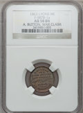 Civil War Merchants, 1863 A. Button, Lyons, MI, F-587B-1a, R.7, AU58 NGC.. Purchasedfrom E. Hack (2/26/1939) for 50 cents.. From TheClift...