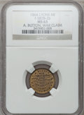 Civil War Merchants, 1864 A. Button, Lyons, MI, F-587B-2b, R.8 MS63 NGC.. Purchasedfrom H. Bowen for 50 cents.. From The Clifton A.Temple...