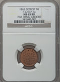 Civil War Merchants, 1863 F.M. Wing, Detroit, MI, F-225CP-3a, R.8 MS65 Red and BrownNGC.. Purchased from James Kelly (5/7/1943) for 35 cents....
