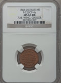 Civil War Merchants, 1864 F.M. Wing, Detroit, MI, F-225CP-4a, R.9, MS63 Red and BrownNGC.. Purchased from James Kelly (5/7/1943) for 35 cents....