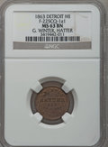 Civil War Merchants, 1863 G. Winter, Detroit, MI, F-225CQ-1a1, R.9, MS63 Brown NGC..Purchased from H.E. Wilson (9/24/1940) for 11 cents.....