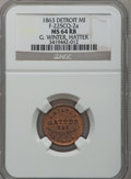 Civil War Merchants, 1863 G. Winter, Detroit, MI, F-225CQ-2a, R.7, MS64 Red and BrownNGC.. Purchased from James Kelly (7/8/1943) for 35 cents....