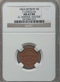 Civil War Merchants, 1864 G. Winter, Detroit, MI, F-225CQ-3a, R.9, MS63 Red and BrownNGC.. Purchased from James Kelly (7/8/1943) for 50 cents....