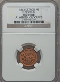 Civil War Merchants, 1863 A. Witgen, Detroit, MI, F-225CR-3a, R.7, MS64 Red and BrownNGC.. Purchased from J. Barnet (9/26/1938) for 25 cents....
