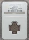 Civil War Merchants, 1863 P. Leonard, Eaton Rapids, MI, F-300D-1a, R.6, AU58 NGC..From The Clifton A. Temple Collection....