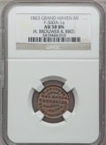 Civil War Merchants, 1863 H. Brouwer, Grand Haven, MI, F-360A-1a, R.6, AU58 NGC..From The Clifton A. Temple Collection....