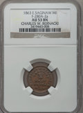 Civil War Merchants, 1863 Charles W. Bernacki, East Saginaw, MI, F-280A-2a, R.5, AU53NGC.. From The Clifton A. Temple Collection....